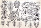 Collection of vector decorative floral elements in vintage style - 183930035
