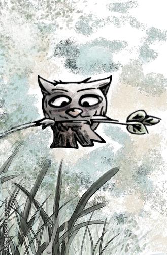 Tuinposter Uilen cartoon uil