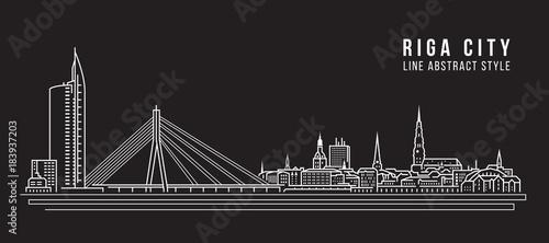 Cityscape Building Line art Vector Illustration design - Riga city