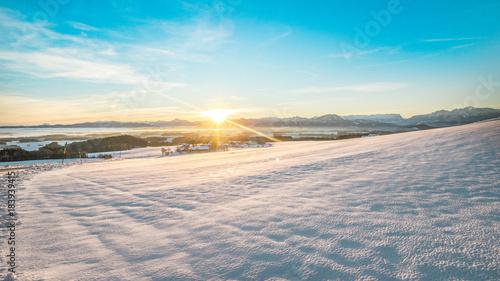 Plexiglas Zonsopgang Sunrise over beautiful Salzburger Land in winter