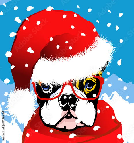 Tuinposter Art Studio santa claus french bulldog