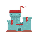 Cartoon blue castle with red heraldic flags on conical turret. Medieval royal building. Flat vector design for children s book cover, invitation card, web, mobile game - 183942068