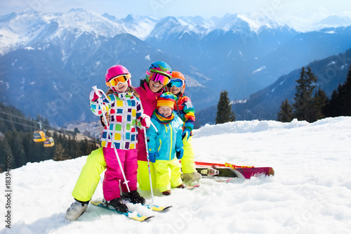 Family ski vacation. Winter snow sport for kids.