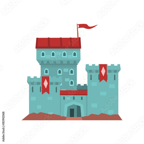 Cartoon blue castle with red heraldic flags on conical turret. Medieval royal building. Flat vector design for children s book cover, invitation card, web, mobile game