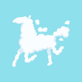 Funny cloud in form of running horse. Silhouette of animal. Isolated flat vector design for children s book, poster, greeting or invitation card - 183942479