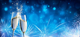 Toast With Champagne And Fireworks In Shiny Night - 183943030