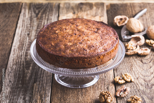 Walnut cake on cakestand