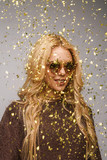 Bright blonde in golden confetti - 183944078