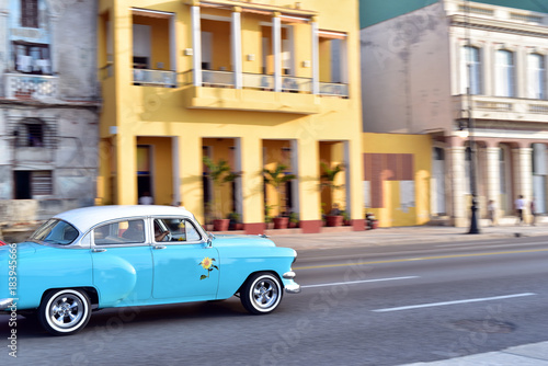 Aluminium Havana Old car speeding along the road at Malecon, Havana, Cuba