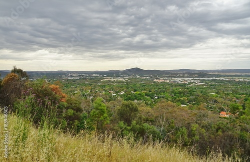 Foto op Canvas Donkergrijs Panoramic view of the city of Canberra in the Australia Capital Territory (ACT), Australia