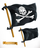 Pirate Black Flag Jolly Roger 3d  Icon Wall Sticker