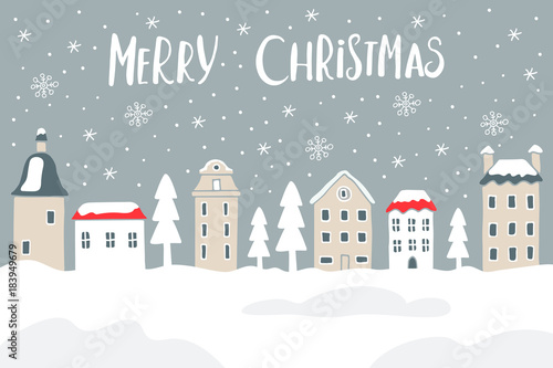 Fototapeta Vector Christmas card with city and snow
