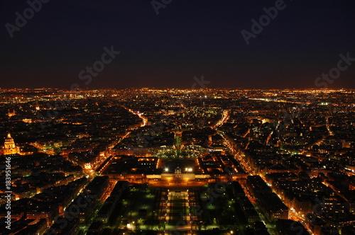 Deurstickers Parijs Paris Skyline Nacht