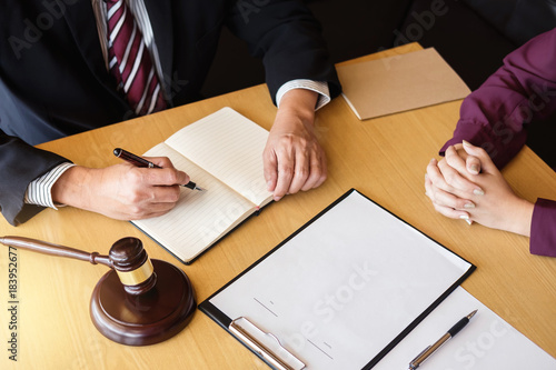 Customer service good cooperation, Consultation between a male lawyer and business people customer, tax and the company of real estate concept
