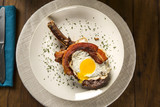 Prime ribs with egg and bacon - 183955664