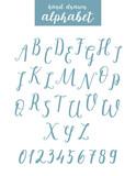 Script font alphabet written with a brush. Vector alphabet. - 183958296
