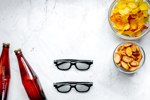 snacks for watching TV on white background top view mock-up - 183960232