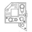 Mechanical letter Q engraving vector illustration