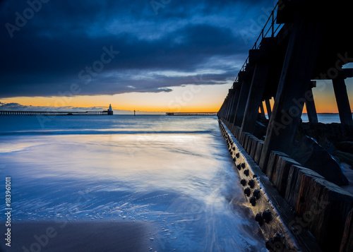 Dawn at Blyth Piers, Blyth, Northumberland, England, UK.