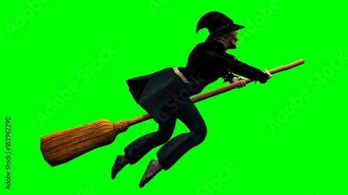 Befana su scopa volante su sfondo chroma key
