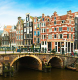 Prinsengracht Canal  and  typical Dutch  houses behind the bridge in winter, Amsterdam, The Netherlands. . - 183968032