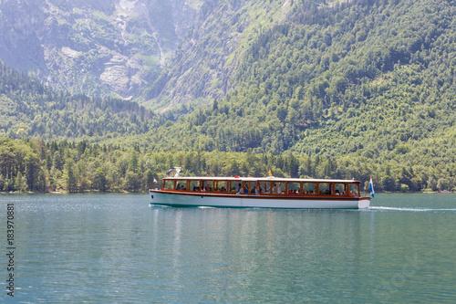 Sticker Launch ship on lake Konigssee nearby Berchtesgaden in Germany