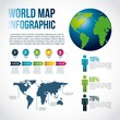 world map infographic chart population vector illustration