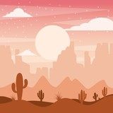 cartoon desert landscape with cactus hills and mountains silhouettes nature vector illustration - 183973009