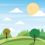 sunny nature landscape with trees and meadow cloud grass vector illustration - 183973091