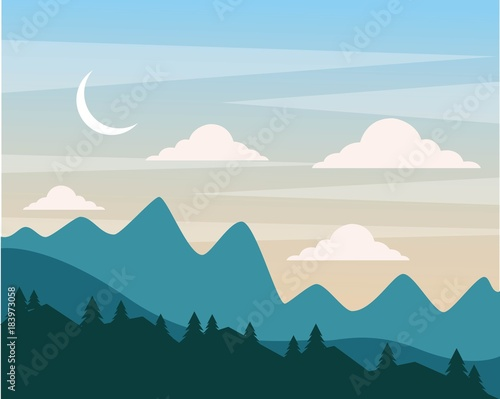 night hills landscape mountains trees and moon clouds sky vector illustration