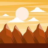 landscape sunset in the mountains full moon and clouds scene vector illustration