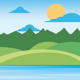 nature landscape mountains with sky sun clouds hills and grass rural scenery vector illustration - 183973208