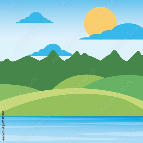 Plexiglas Pistache nature landscape mountains with sky sun clouds hills and grass rural scenery vector illustration