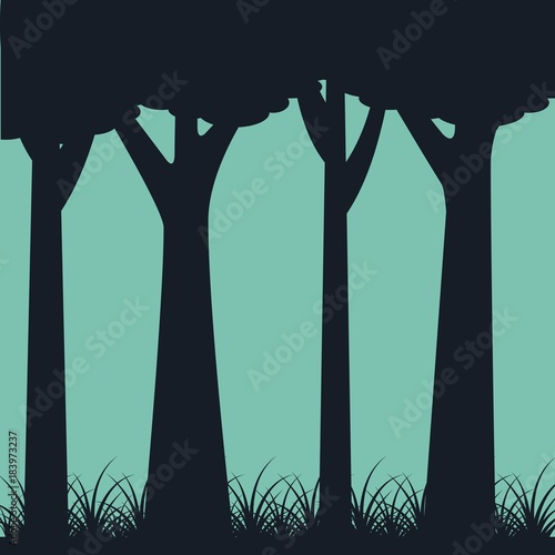 Foto op Canvas Zwart silhouette of trunk trees weed landscape green background vector illustration