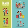 set of family differents activity vector illustration