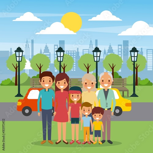 Sticker family happy in the park city street cars sky vector illustration