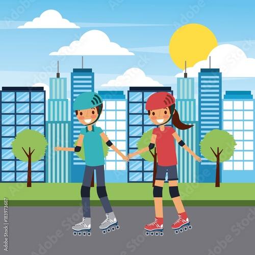 Aluminium Skateboard couple family holding hand with roller skate in street city vector illustration