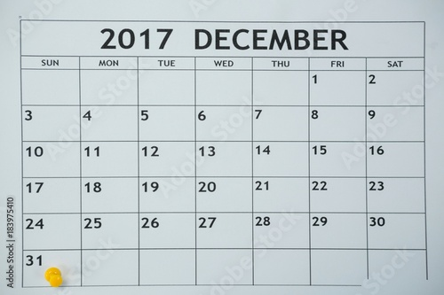 Yellow pin push on day 31st of month end on white calendar Poster