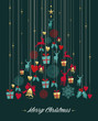Christmas pine tree gold decoration greeting card