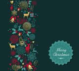 Merry Christmas gold deer pattern greeting card - 183983225