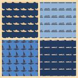 Sea transport vector illustration on a seamless pattern background - 183987858