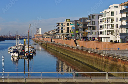 Plagát Waterfront of the Europa harbor in Bremen, Germany with moored sailing yachts an