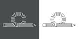 Icono plano linea lapiz en bucle gris y blanco - 183996270