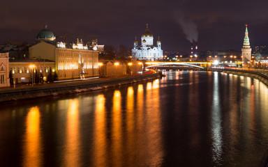 Night Bridge Moscow River near Kremlin. Jesus Savior Temple. Bridge Moscvoretskiy