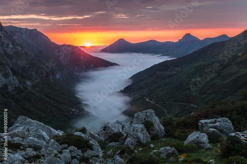 Foto op Canvas Grijze traf. Summer sunset in the Saliencia Valley, Asturias