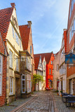 Medieval Bremen street Schnoor with half-timbered houses in the centre of the Hanseatic City of Bremen, Germany - 184000600