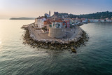 Piran on Slovenian adriatic coast in morning sun - 184001430