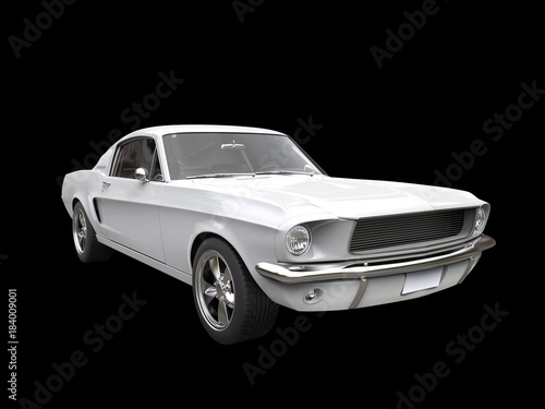Foto op Canvas Snelle auto s Clear white vintage American muscle car