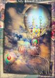 Cartolina vintage con mongolfiere steampunk in volo in un cielo notturno e tempestoso