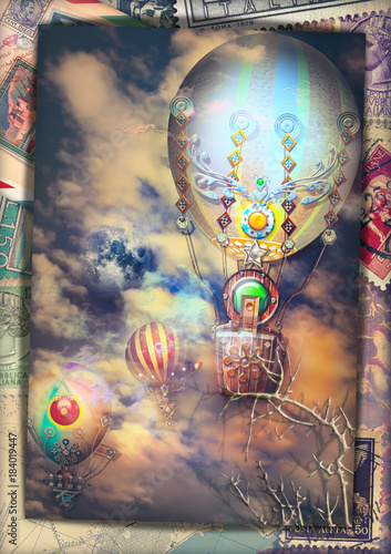 Deurstickers Imagination Cartolina vintage con mongolfiere steampunk in volo in un cielo notturno e tempestoso